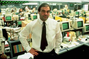 Director Oliver Stone on the set of Wall Street.