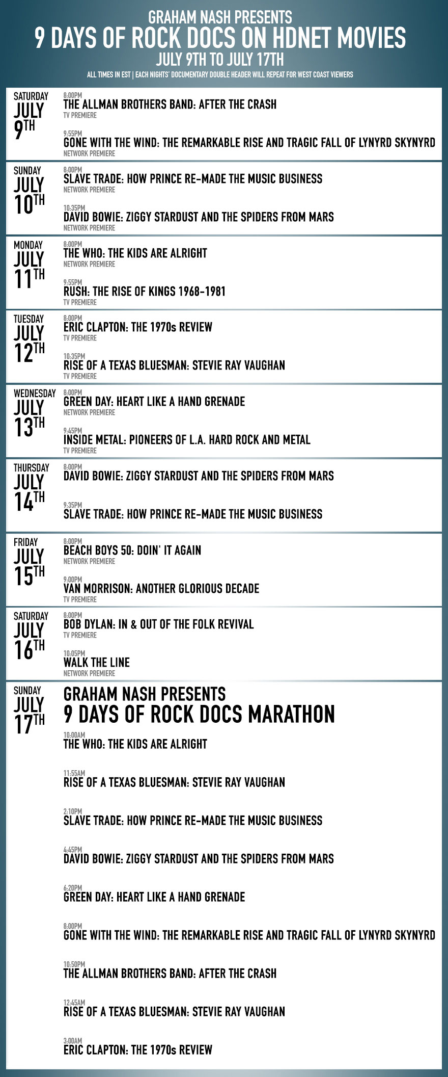 '9 Days of Rock Docs' on HDNET MOVIES