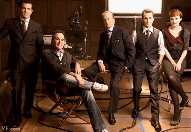 Josh Brolin, Oliver Stone, Michael Douglas, Shia LaBeouf, and Carey Mulligan on the set of Wall Street 2